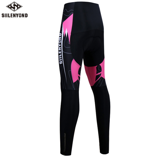 Siilenyond 2019 Women Winter Cycling Pants With 3D Gel Padded Shockproof Mountain Bike Cycling Tight Anti-slip Cycling Trousers 1