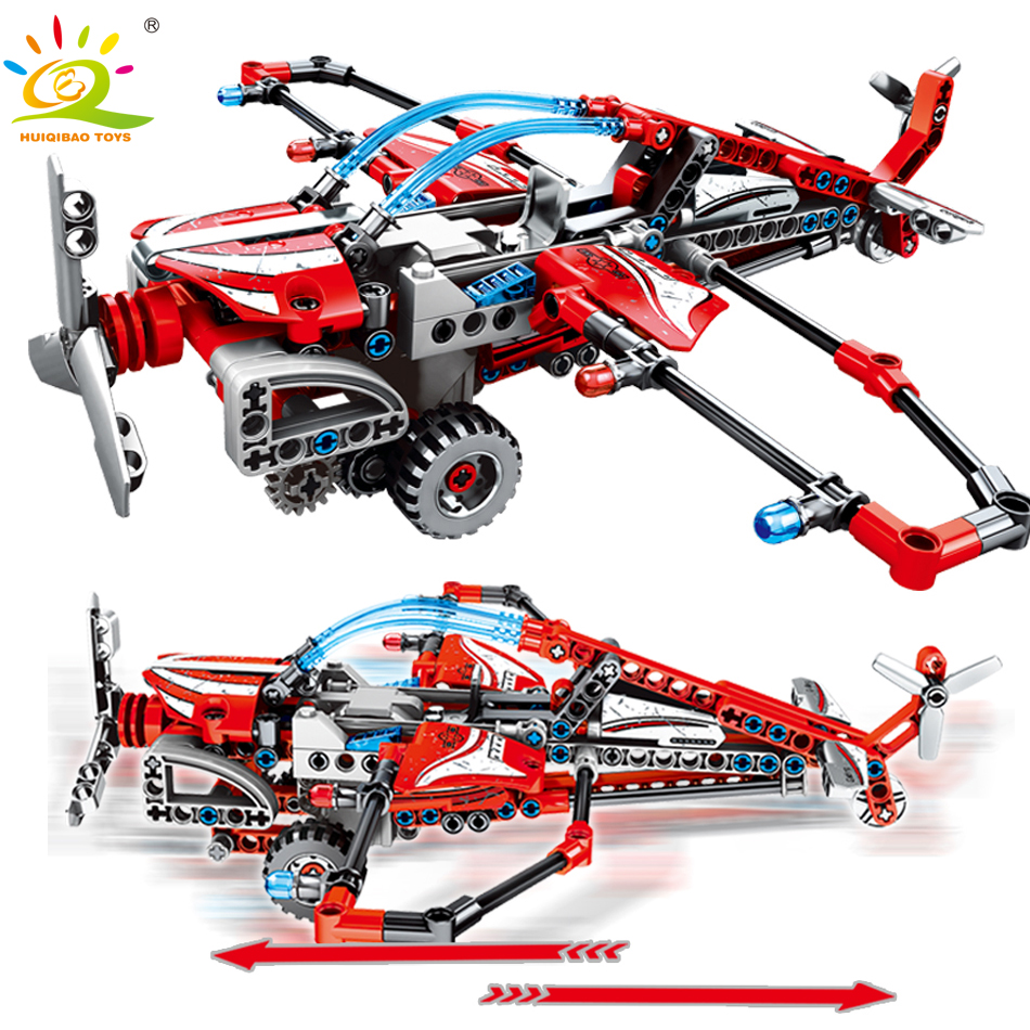 223PCS Pullback Aircraft Building Blocks Compatible legoingly Technic Helicopter plane DIY Bricks Educational Toys for Children