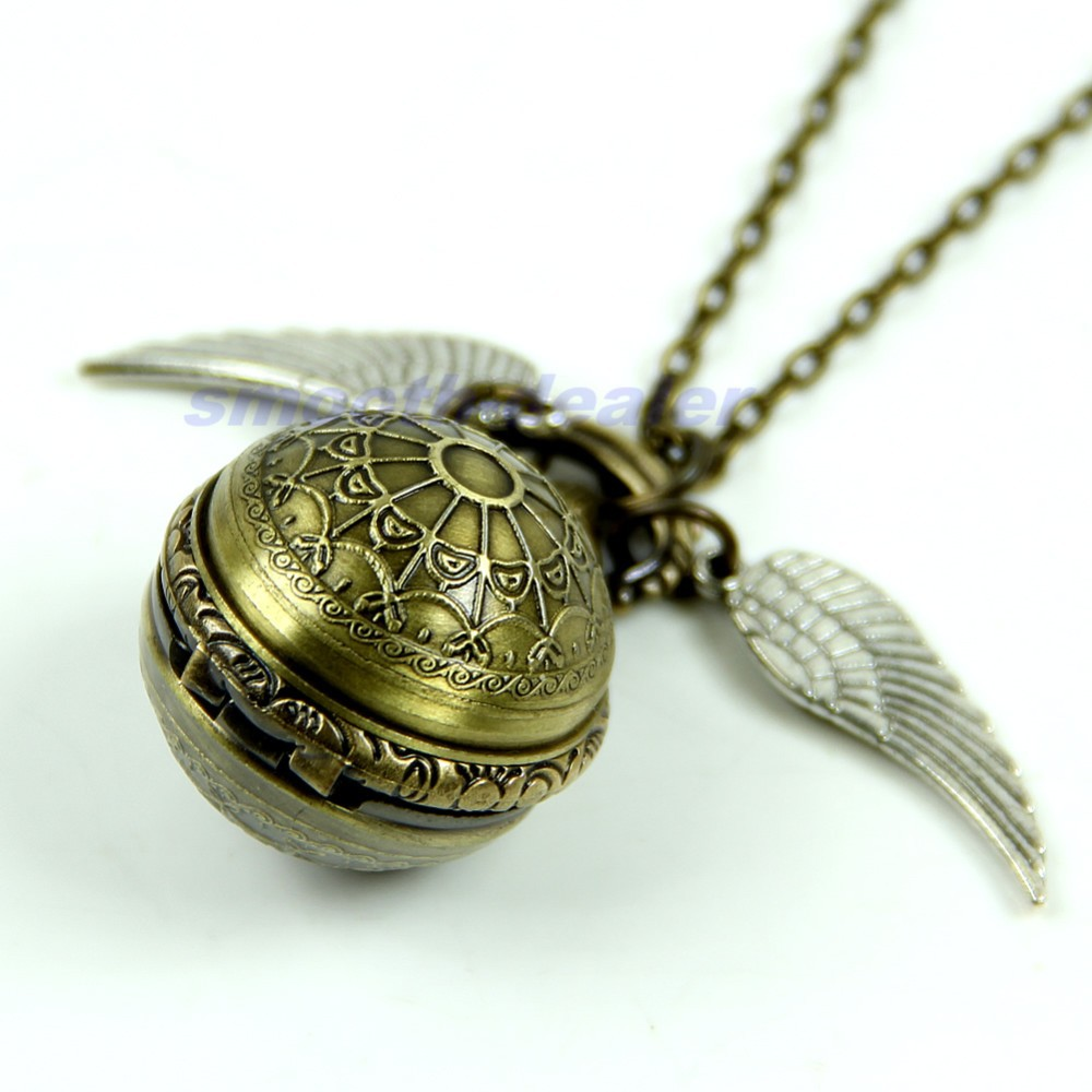 Antique Vintage Spider Web Ball Wing Necklace Pendant Quartz Pocket Watch Gift