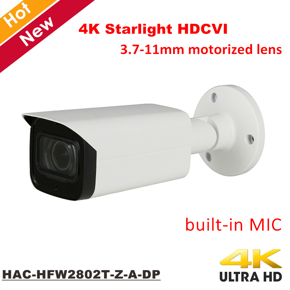 все цены на DH 4K Starlight HDCVI Camera HAC-HFW2802T-Z-A-DP Built in Mic IP67 Coaxial Camera 3.7-11mm motorized lens IR 80m Outdoor IP67 онлайн