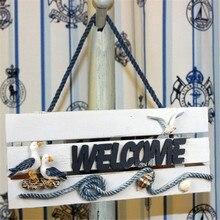 """1"""" деревянный приветственный знак на дверь Seabird украшение пляжного дома"""