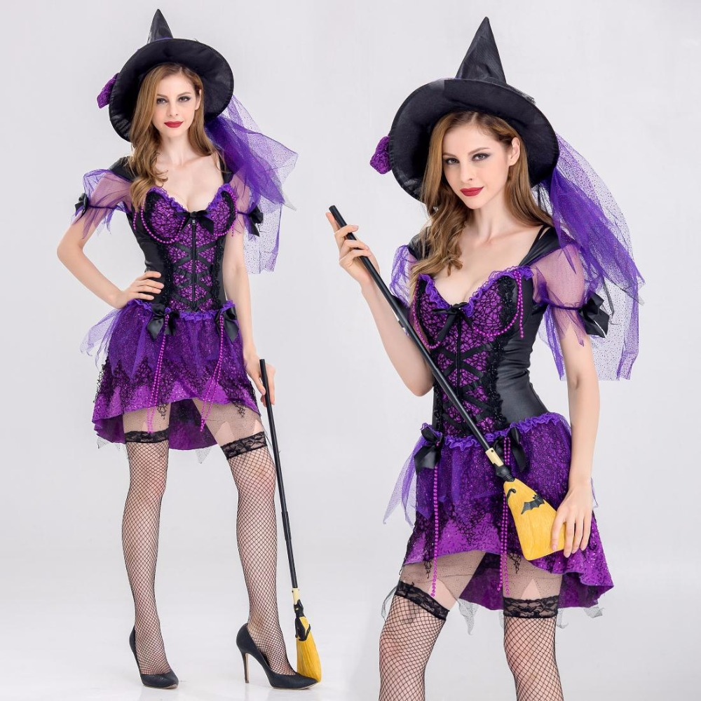 2018 New Women Witch Costumes Adult Halloween Flying witch Costume Sexy Swallow Tail Braces Performances Fancy Dress+Hat