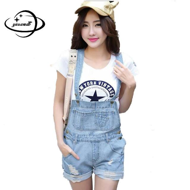 529a478c93db size S-L women overalls jumpsuit 2016 summer Washed Jeans Denim Casual Hole Romper  Overalls Light Blue Jeans Shorts Pants y45