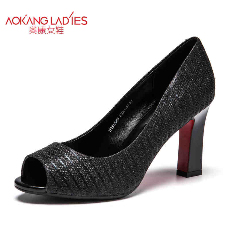 Aokang 2017 New arrival women pump genuine leather shoes high heels women shoes party shoes black shoes free shipping aokang 2017 new arrival women flat genuine leather shoes red pink white women shoes breathable and soft free shipping