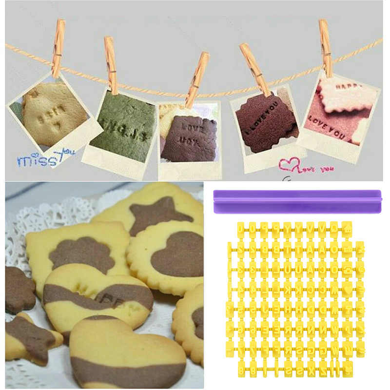 English alphanumeric symbols seal biscuits molds movable type printing cake baking tool set