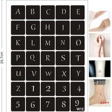 35 Designs/set Body Art Stencils for Painting Airbrush Glitter Tattoo Stencil Letter Number Small Pattern Pochoir Tatoo