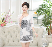 Summer High Quality Newest Design Fashion Vintage Pattern Printing Silk Dress For Women