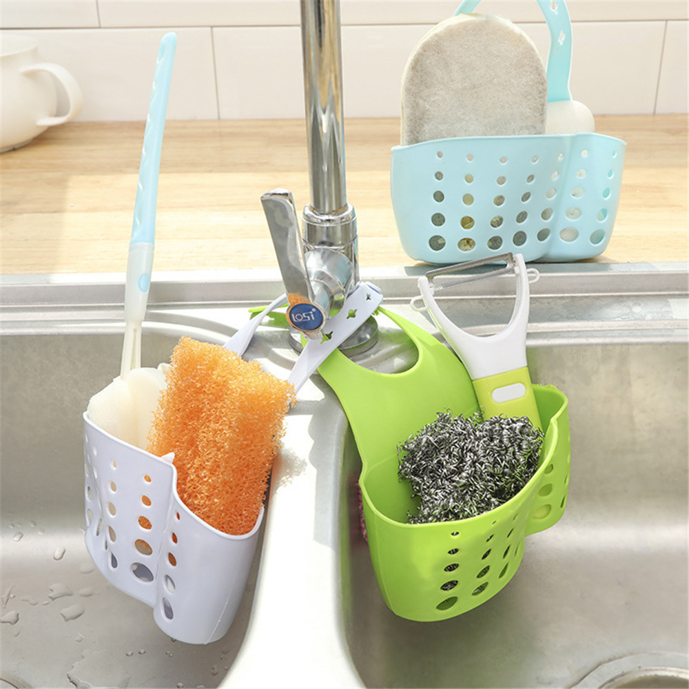 Adjustable Snap Sink Sponge Storage Rack Hanging Basket Bathroom Accessory Kitchen Organizer Hanging Storage Holder