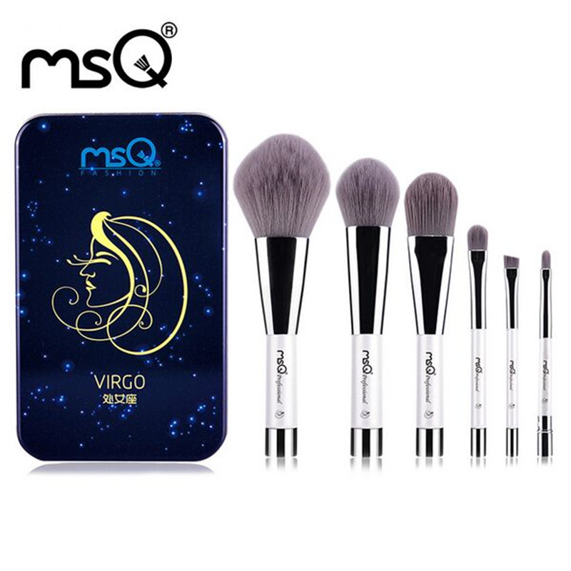 MSQ Makeup-Brushes-Set Eyeshadow Blending Rose-Gold 12-Constellation-Series 6pcs Soft title=