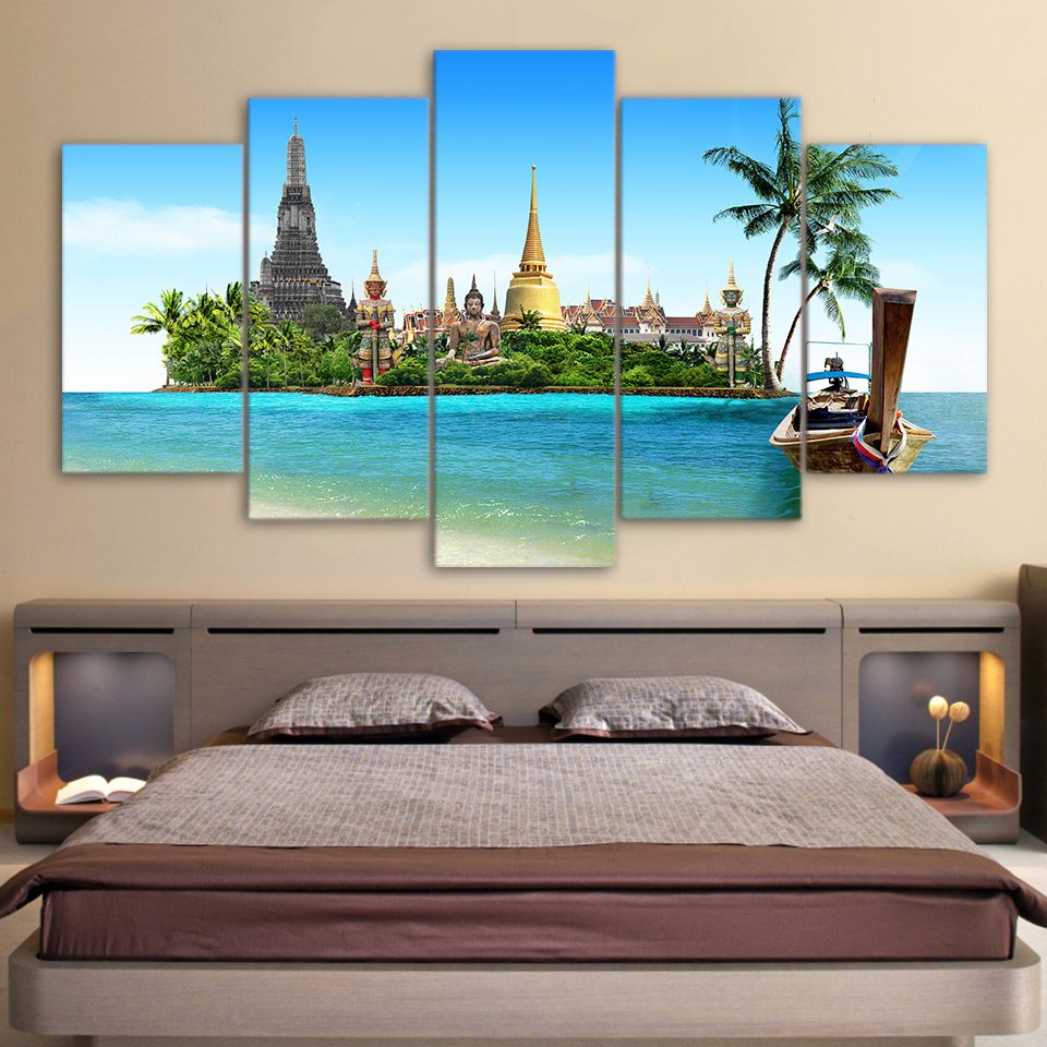 Modular Paintings Home Decor Frame HD Printed Canvas 5 Pieces Tropical Island Pictures Wall Art Thailand Pattaya Buddha Posters