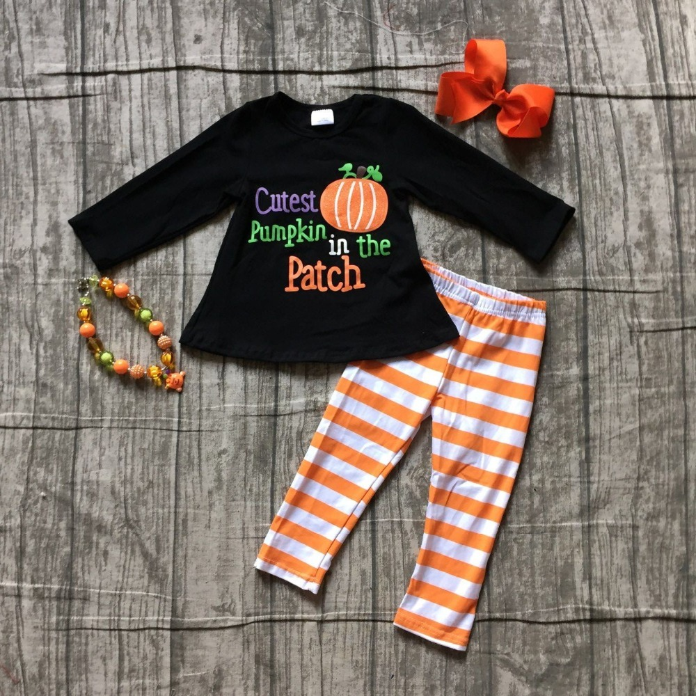 Fall Halloween baby girls cutest pumpkin in the patch cotton boutique children clothing stripe pant children match accessories special offer clothing baby girls halloween outfits boutique children small boves are so scary pant cotton sets match accessory