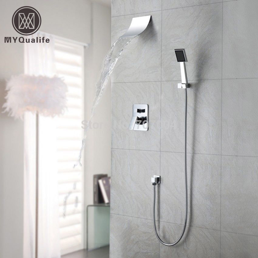 Polished Chrome Wall Mount Waterfall Spout Head Shower Faucet with Hand shower System 2w 040 10 g3 8 ac220v dc12v dc24v copper water electromagnetic valve solenoid valves normal close