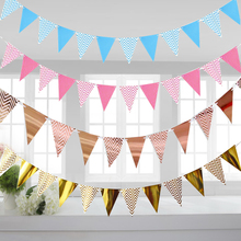 3m 12 Flag Gold Pink Paper Board Garland Banner For Baby Shower Birthday Party Decoration Kids Room
