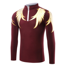 2017 New Arrival Hot Sale Full Turtleneck Novelty Cotton Men Long Sleeve Polo Shirt Collar Printing T-shirt