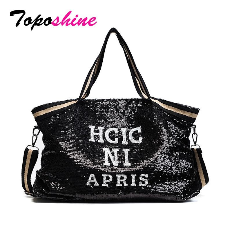 Toposhine PU Leather Women Handbag Women Fashion Shopping Bags Totes Sequined Shine Women Tote Popular Fashion Shoulder Bag