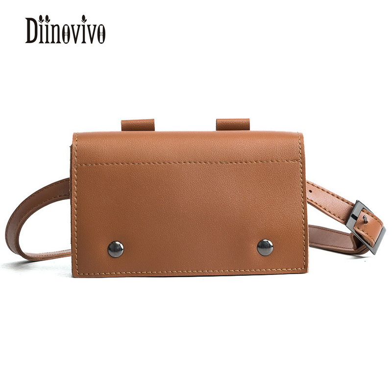 DIINOVIVO Multifunction Mini Chains Waist Packs Fashion Casual Wallet-Female PU Womens Messenger Bags Leather Belt Bags DNV0167