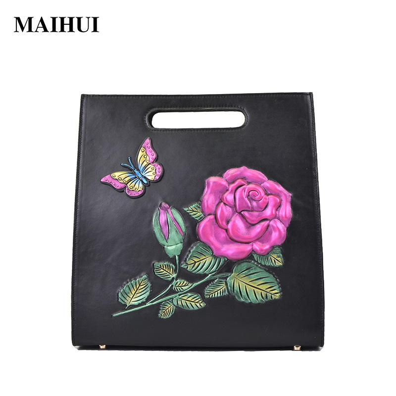 MAIHUI women leather handbags high quality cowhide real genuine leather shoulder bags new ladies national embossing tote bag gathersun high quality genuine leather shoulder bags cowhide handmade light soft handbags for girls women big tote bags
