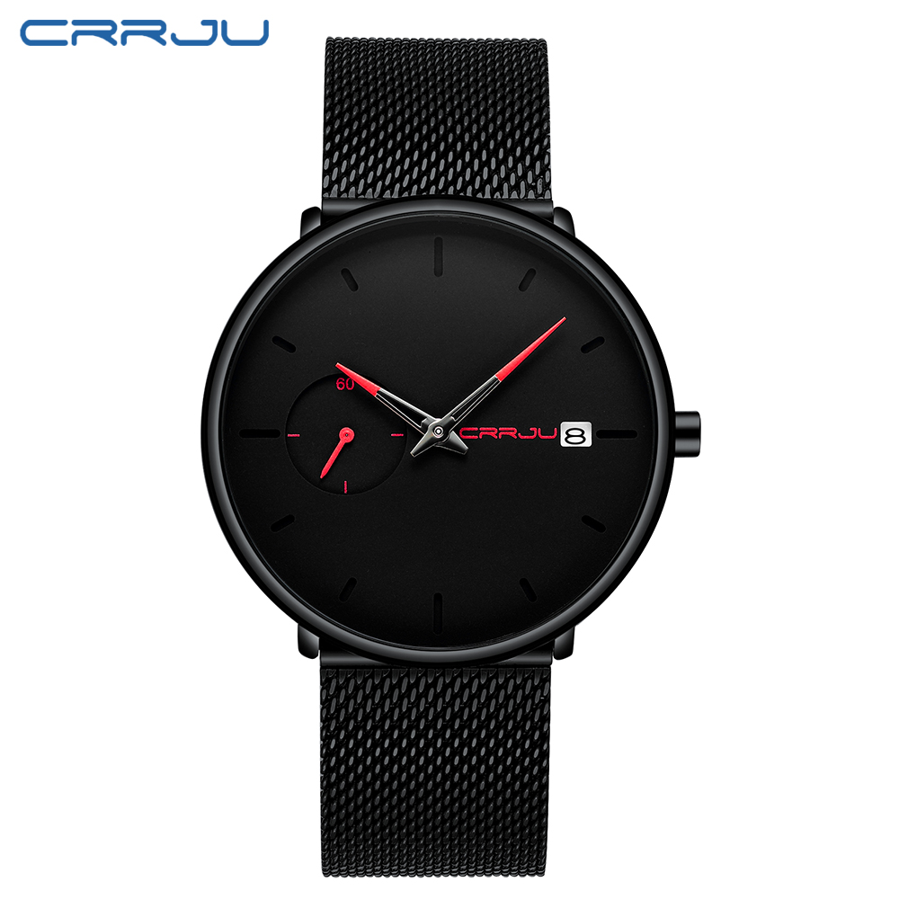 Image 2 - Crrju Sports Date Mens Watches Top Brand Luxury Waterproof Sport Watch Men Ultra Thin Dial Quartz Watch Casual Relogio Masculino-in Quartz Watches from Watches