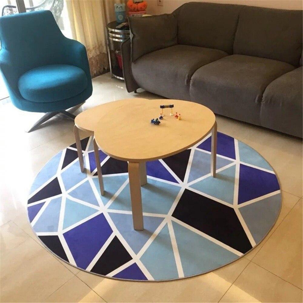 Moderne blaue geometrische runde bereich teppich 80c100120160 cm alfombras dormitorio