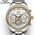 Автоматические водонепроницаемые спортивные часы GUANQIN  Роскошные мужские часы Tourbillon  наручные часы для плавания