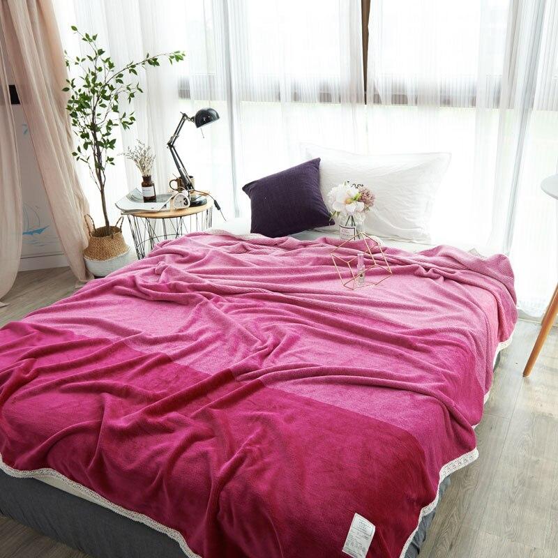 Modern Fashion Rose Red Solid Color Dyed Cotton Felt <font><b>Blanket</b></font> Lace For Beds Fleece Warm Winter Sleeping Sofa <font><b>Blanket</b></font> Bedspreads