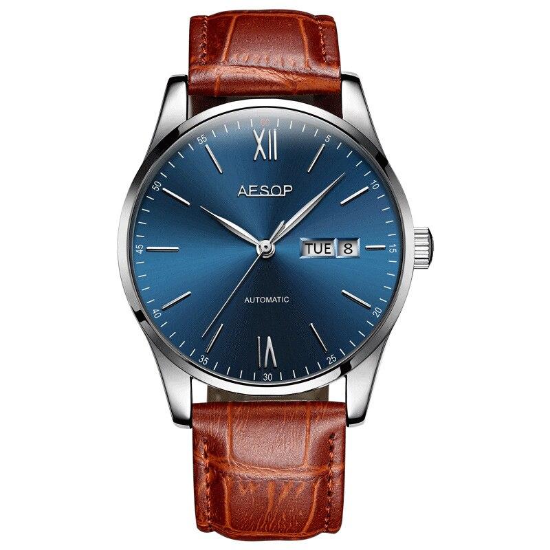 AESOP haut mince affaires mécaniques montres hommes haut marque de luxe mince noir heures bleu visage mâle horloge cuir Relogio Masculino