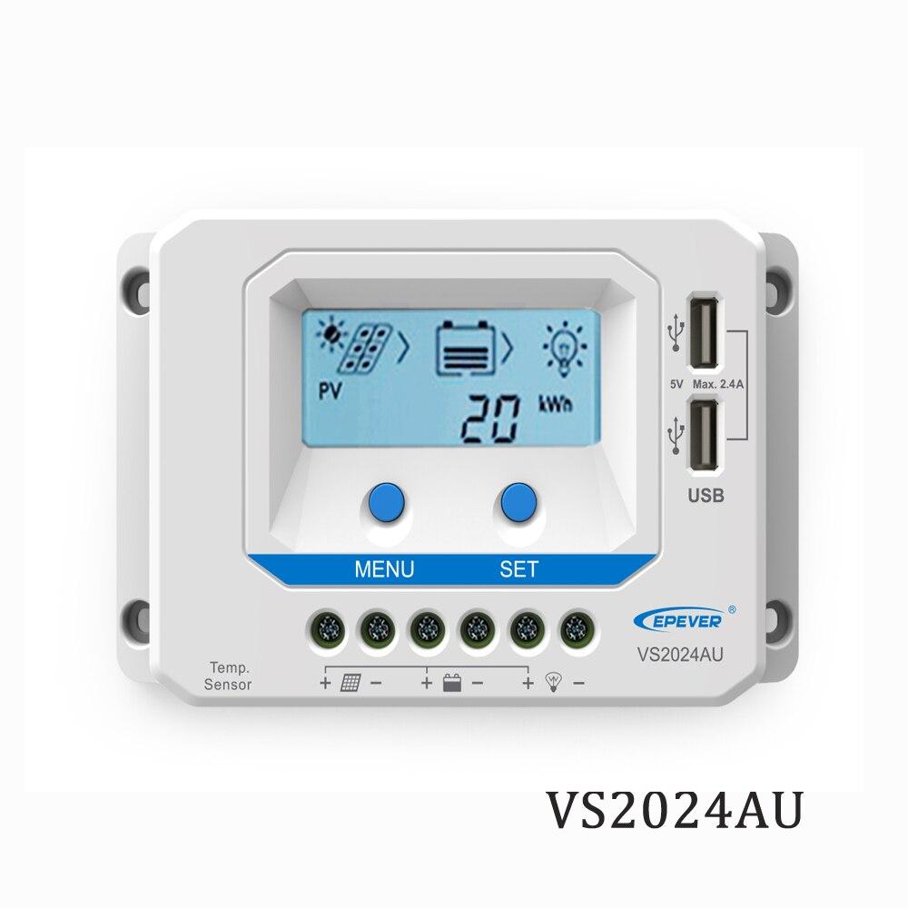 20A VS2024AU 12 V 24 V EPSolar PWM chargeur de panneau solaire batterie LCD rétro-éclairage 5 V chargeur de téléphone portable