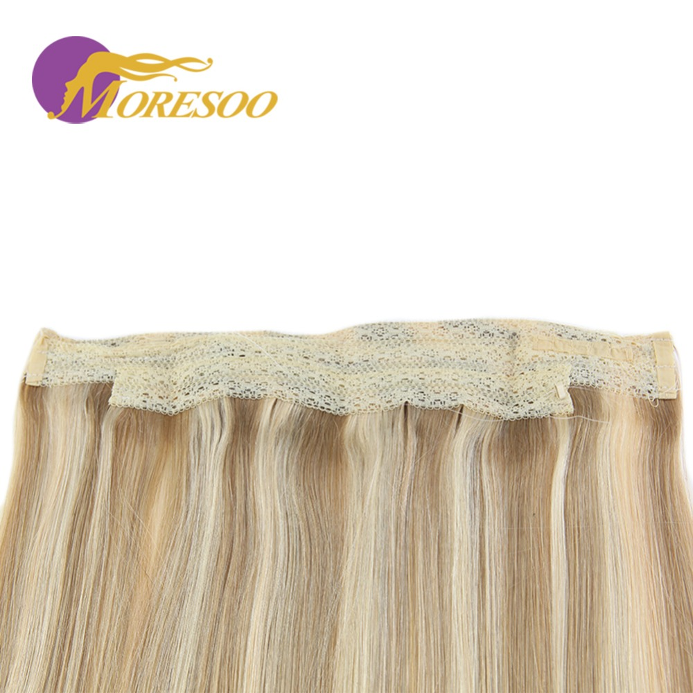 Moresoo 12-22inch Flip In Human Hair Extensions Fishing Line Halo Hair Invisible Hidden Secret Wire Real Remy Brazilian Hair