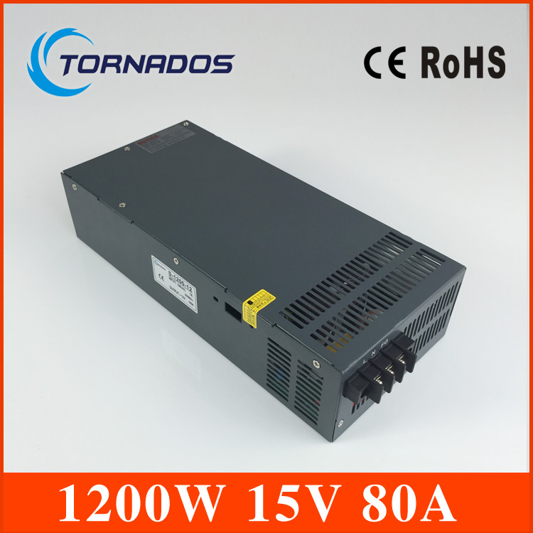 1200W 15V  Constant voltage Led Driver for LED Strip light AC to DC power suply input 110v 220v 1200w ac to dc power supply 56w led driver dc45 55v 1 2a high power led driver for flood light street light constant current drive power supply ip65