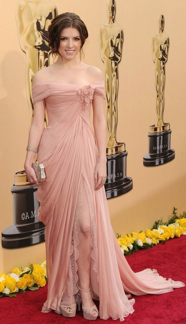 Real Photos Oscar Red Carpet Classical Off Shoulder Front Slit Pink Chiffon Evening Dresses Celebrity Dresses