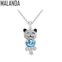 ddea9e5d75275c MALANDA Brand Design Moda Colorful Lovely Cat Collane Per Le Donne di  Cristallo Da Swarovski Pendenti Della Collana Del Partito .