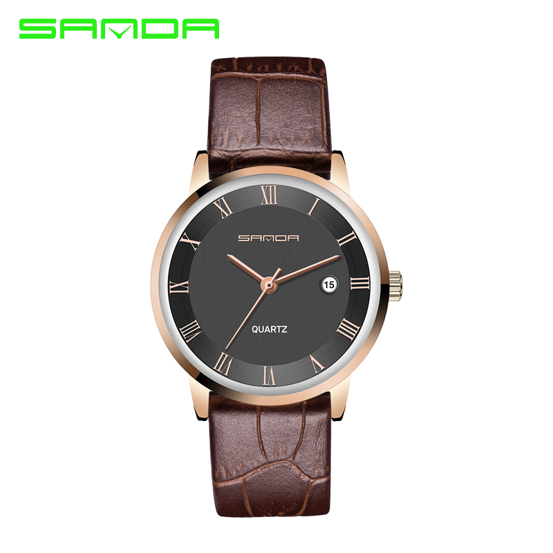 SANDA 7mm Super Slim Men's Watches Leather Business Leisure Calendar Quartz Watch Male clock relojes hombre relogio masculino