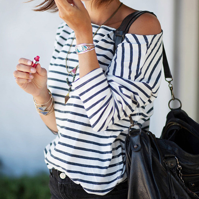 55976764bb84c Hotsale Women Blouses One Shoulder Black White Strip Three Quarter Sexy  Summer Beach Fitness Tee Tops Camiseta Feminina