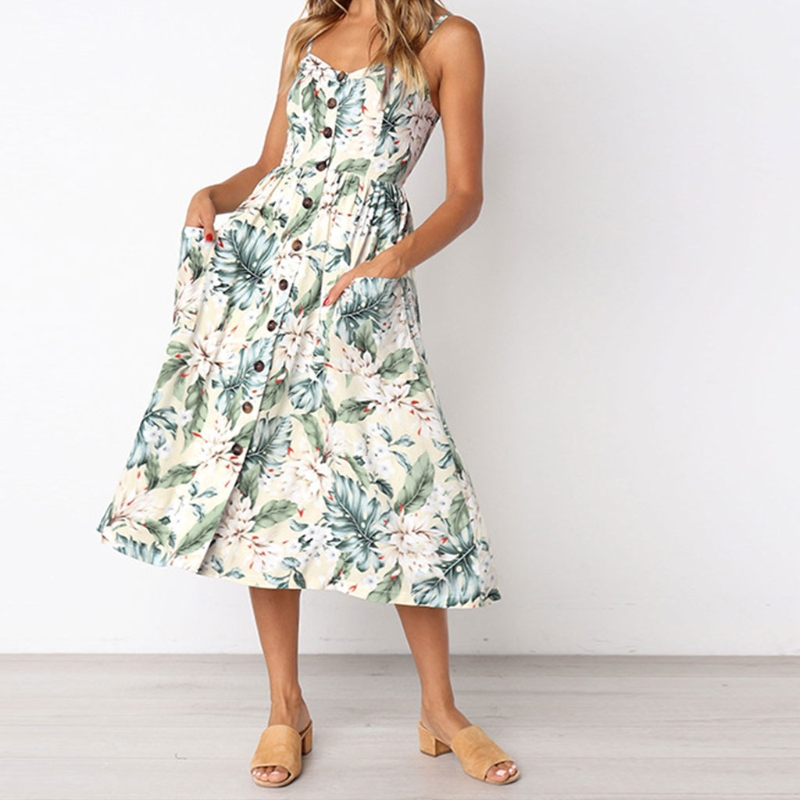 Sexy Casual Summer Dress Boho Beach Pockets Sundress Elegant Dess Long Dress