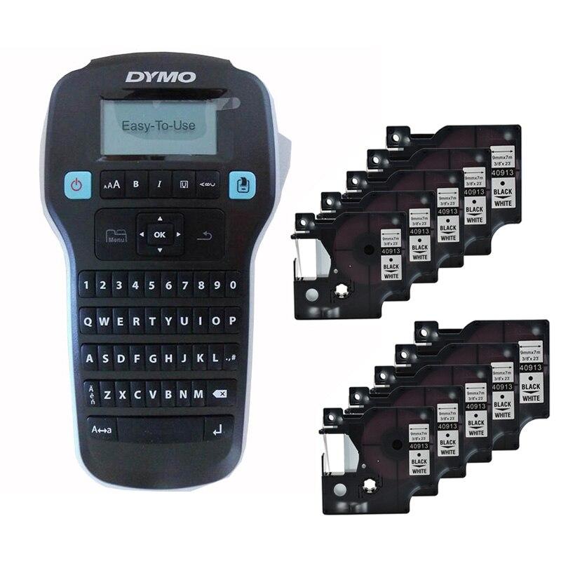 Dymo LM160 imprimantes d'étiquettes plus 10 pièces 9mm noir sur blanc 40913 bandes d'étiquettes ruban Cassette cartouche pour Dymo 160 Machine à étiquettes