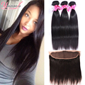 Brazilian Straight Hair With Closure Brazilian Virgin Hair 3 Bundles With Frontal Closure Wet And Wavy Virgin Brazilian Hair