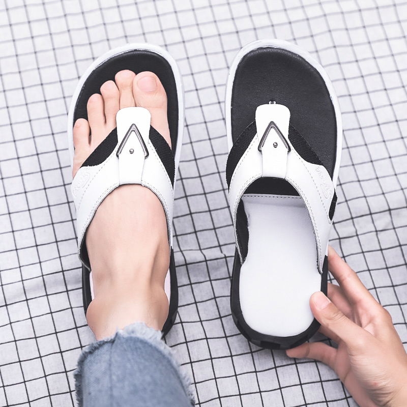 Sandals Mens Fan-Shaped Flip-Flops Artificial Curved Support Sandals Fashion Slippers Casual Personality Insoles Flip-Flops Sandals