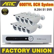 8pcs CCTV DVR System Full D1 8ch 600TVL CCTV Security System DVR Camera CCTV Kit 8 Channel Video Surveillance System