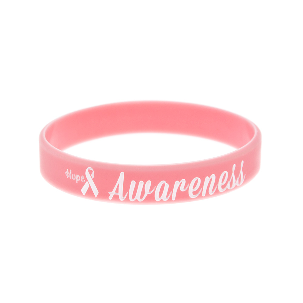 OneBandaHouse 50PCS/Lot Motivation Bracelet Hope Ribbon Breast Cancer Awareness Silicone Wristband Pink Fashion Arm Band-in ID Bracelets from Jewelry & Accessories
