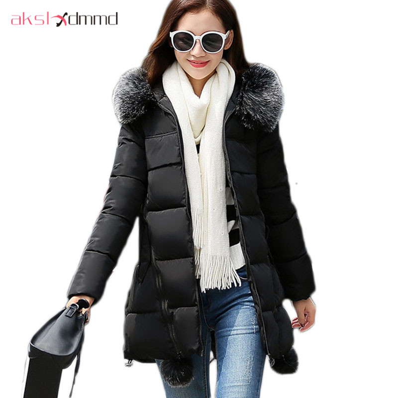 AKSLXDMMD Parkas Winter Jacket Women Plus Size 2017 New Female Thick Padded Fur Collar Hooded Coat Student Abrigos Mujers LH991 akslxdmmd parkas mujer 2017 new winter women jacket fur collar hooded printed fashion thick padded long coat female lh1077