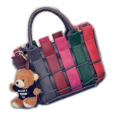 Hot Sale Colorful Women Knitting Handbags High Quality Panelled Women's Messenger bags Shoulder bags with Cute Bear as gift
