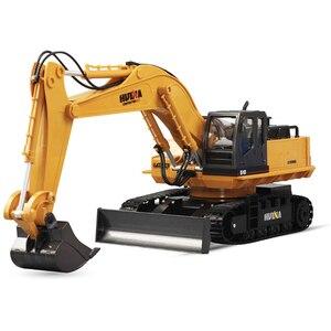 Image 2 - Huina 510 אלחוטי שלט רחוק סגסוגת חופר סימולציה ילדי טעינה חשמלי צעצוע כריית הנדסת רכב דגם