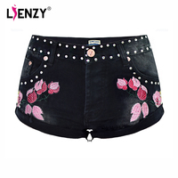 LIENZY Summer Sexy Floral Embroidery 3D Denim Short For Women With Mid Waist Trousers Female Denim