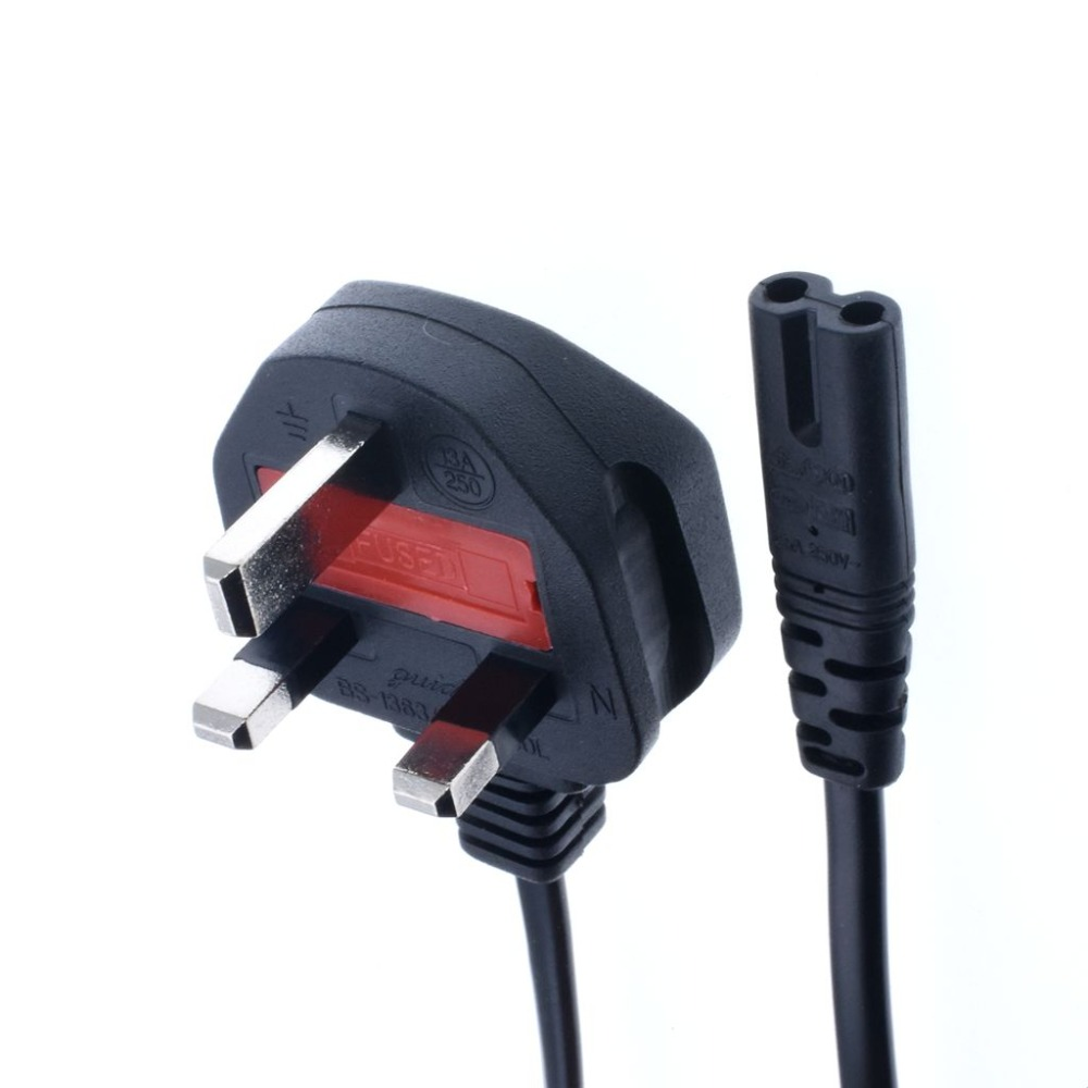 6 Ft USA IEC320 C5 Laptop 3 Prongs to UK BS1363 3 prongs Outlet AC Power Cable