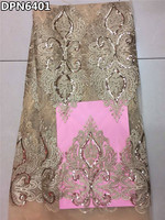DPN6401 2016 Latest Gold Color African French Net Lace Fabric With Sequins High Quality African Wedding