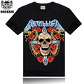 Rocksir Hot sale 2015 METALLIC Tshirt rock hip hop t-shirts Devil Skull T shirt Golden Two snakes Red Rose Black T-Shirt