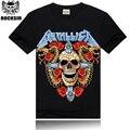 Rocksir envio Hot sale 2015 METÁLICO Tshirt rocha hip hop camisetas diabo Crânio T camisa Dourada Duas cobras Vermelho Rosa Preto T-Shirt