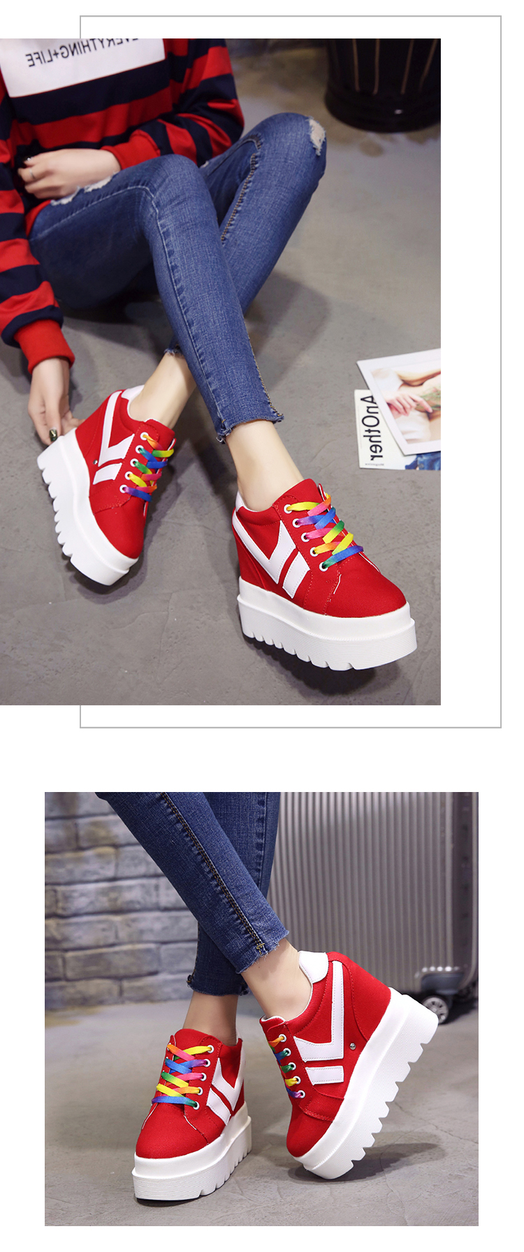 Nice New Korean Fashion Wild Super High Heels Shoes Breathable Comfort Thick Bottom Casual Shoes Women Single Shoes 10