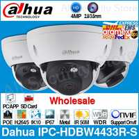 Dahua Wholesale IPC-HDBW4433R-S 4MP IP Camera Replace IPC-HDBW4431R-S With POE SD Card Slot IK10 IP67 Onvif Starnight Detection