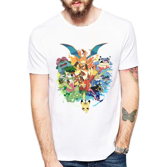 dc3c1cce Pokemon Go Men T-shirt Fashion 20th Anniversary Starters Design Tops  Pikachu Retro Printed tee